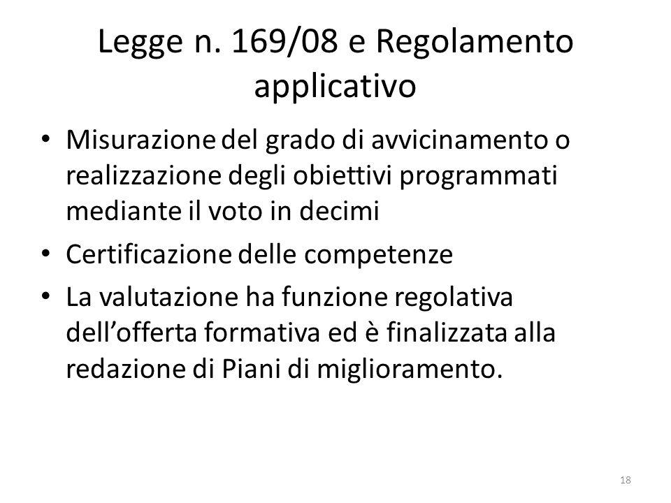 Legge n. 169/08 e Regolamento applicativo Misurazione del grado di avvicinamento o realizzazione degli obiettivi programmati mediante il voto in decim