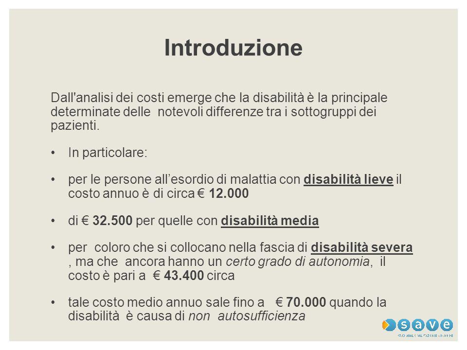 Introduzione Dall analisi dei costi emerge che la disabilità è la principale determinate delle notevoli differenze tra i sottogruppi dei pazienti.