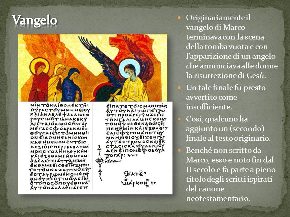 Originariamente il vangelo di Marco terminava con la scena della tomba vuota e con l'apparizione di un angelo che annunciava alle donne la risurrezion