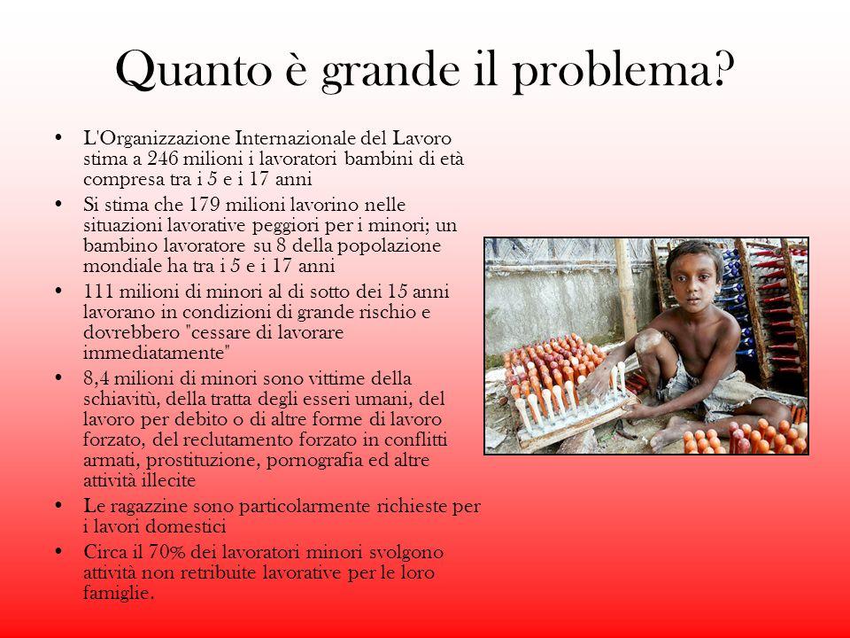 Quanto è grande il problema? L'Organizzazione Internazionale del Lavoro stima a 246 milioni i lavoratori bambini di età compresa tra i 5 e i 17 anni S