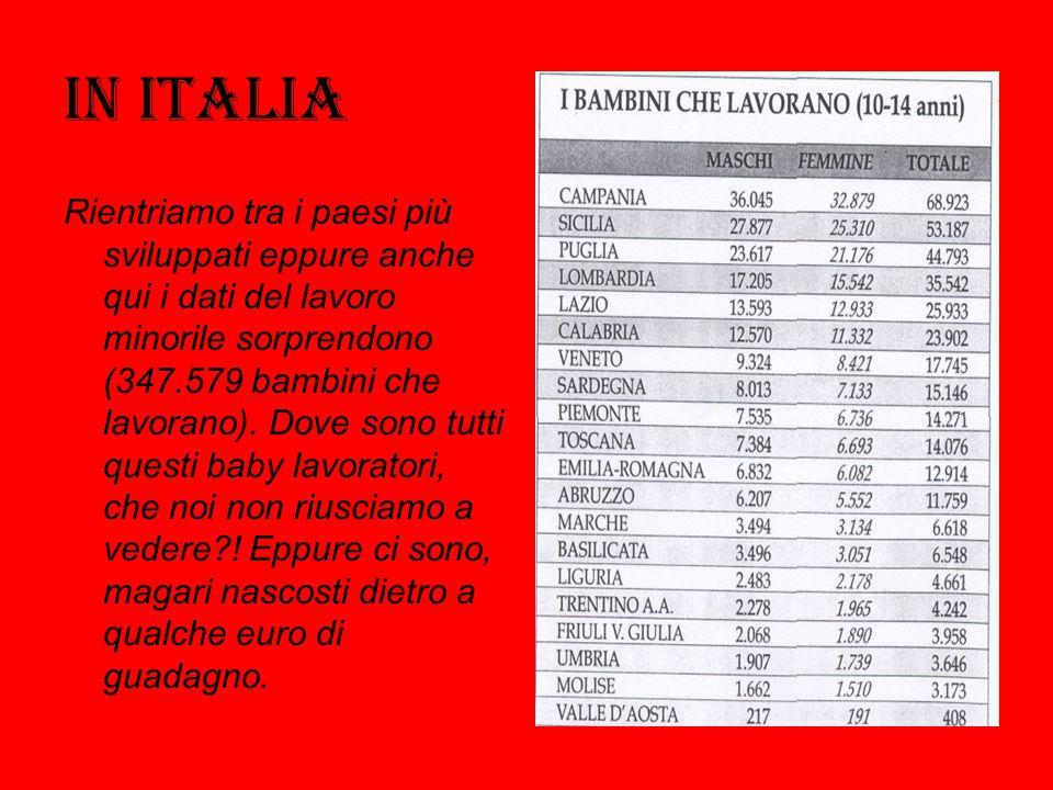 In Italia Rientriamo tra i paesi più sviluppati eppure anche qui i dati del lavoro minorile sorprendono (347.579 bambini che lavorano). Dove sono tutt