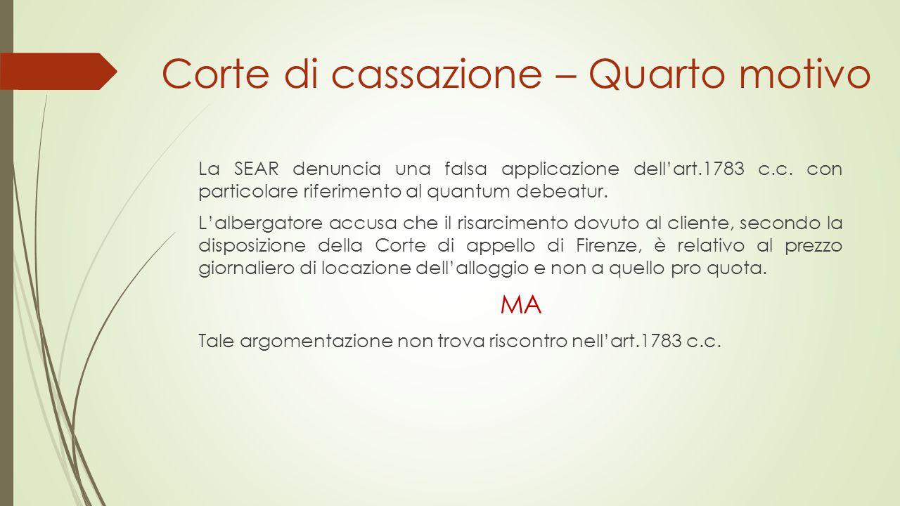 Corte di cassazione – Quarto motivo La SEAR denuncia una falsa applicazione dell'art.1783 c.c. con particolare riferimento al quantum debeatur. L'albe