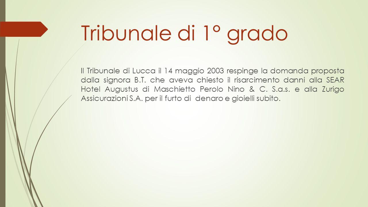 Tribunale di 1° grado Il Tribunale di Lucca il 14 maggio 2003 respinge la domanda proposta dalla signora B.T. che aveva chiesto il risarcimento danni