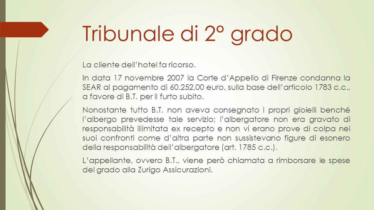 Tribunale di 2° grado La cliente dell'hotel fa ricorso. In data 17 novembre 2007 la Corte d'Appello di Firenze condanna la SEAR al pagamento di 60.252