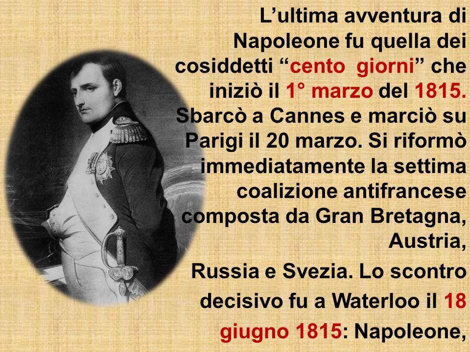 L'abdicazione e il ritiro sull'isola d'Elba Successivamente alla delusione ottenuta in Russia nell'inverno tra il 1812 e il 1813, ci fu la cacciata dei francesi dalla Spagna e la dura sconfitta nella sanguinosa battaglia di Lipsia.