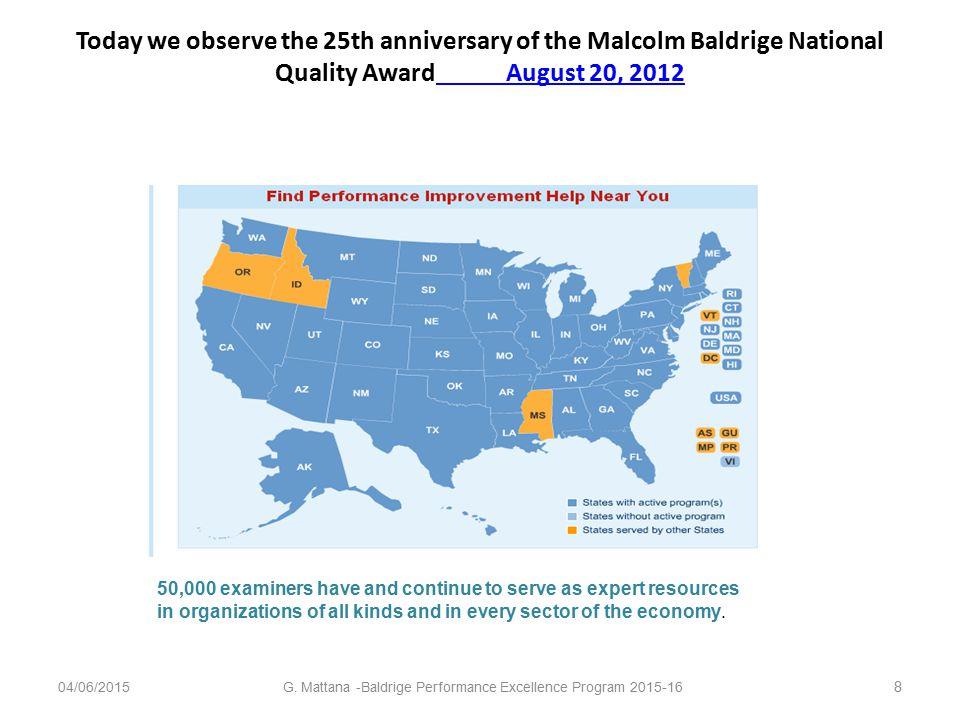 Why Baldrige? Dopo 23 years il Baldrige National Quality Program diventa Baldrige Performance Excellence Program.