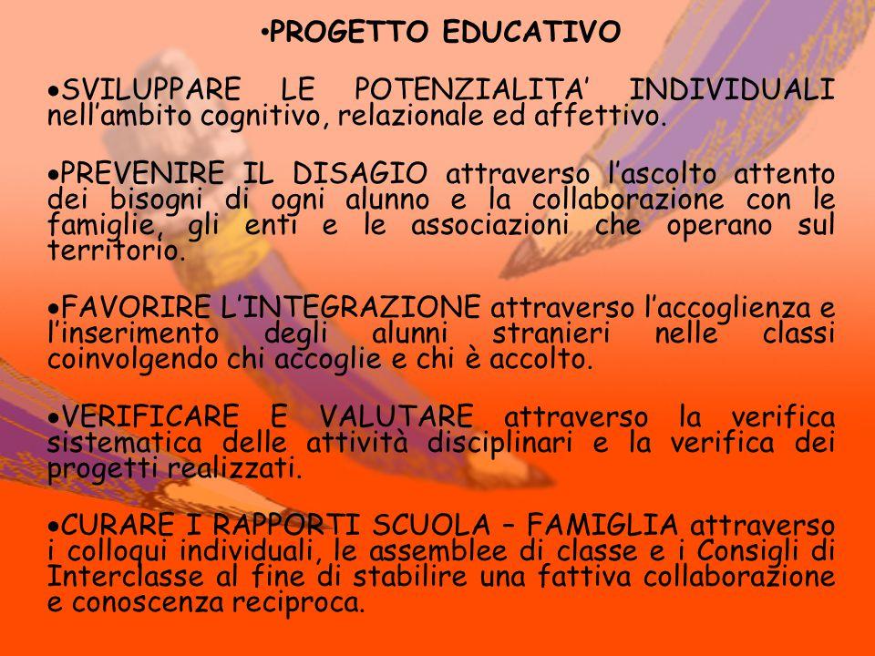 PROGETTO EDUCATIVO  SVILUPPARE LE POTENZIALITA' INDIVIDUALI nell'ambito cognitivo, relazionale ed affettivo.  PREVENIRE IL DISAGIO attraverso l'asco
