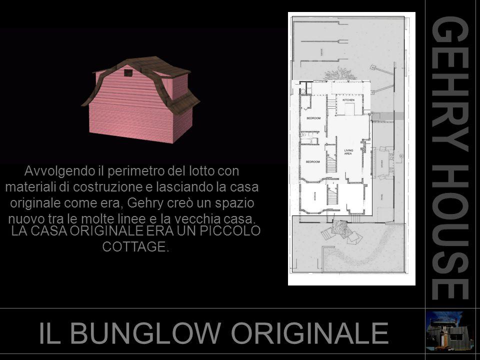 Avvolgendo il perimetro del lotto con materiali di costruzione e lasciando la casa originale come era, Gehry creò un spazio nuovo tra le molte linee e la vecchia casa.