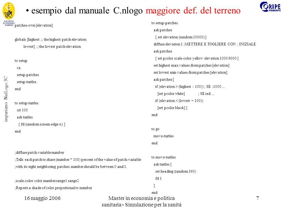 16 maggio 2006Master in economia e politica sanitaria - Simulazione per la sanità 7 impariamo NetLogo 3C esempio dal manuale C.nlogo maggiore def.