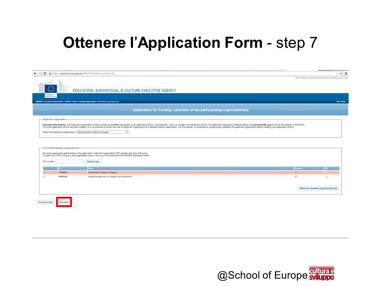 @School of Europe Ottenere l'Application Form - step 7