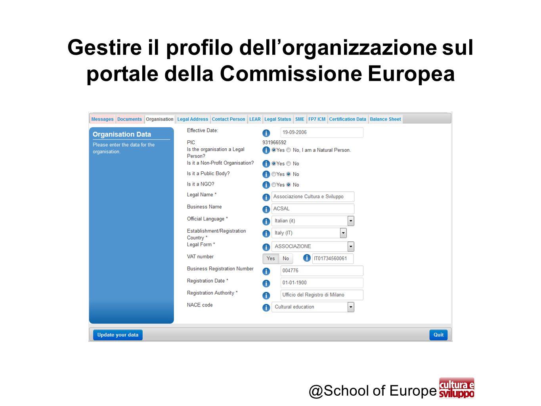 @School of Europe Gestire il profilo dell'organizzazione sul portale della Commissione Europea
