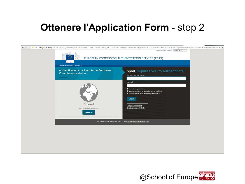 @School of Europe Ottenere l'Application Form - step 3