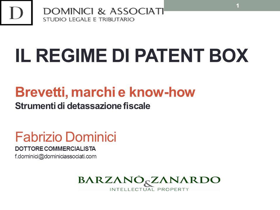 Il regime di patent box Si tratta di un sistema opzionale di tassazione agevolata dei redditi derivanti dall'utilizzo diretto, o dalla concessione in uso a terzi, di talune tipologie di beni immateriali produttivi (brevetti, know-how, opere dell'ingegno...) 2