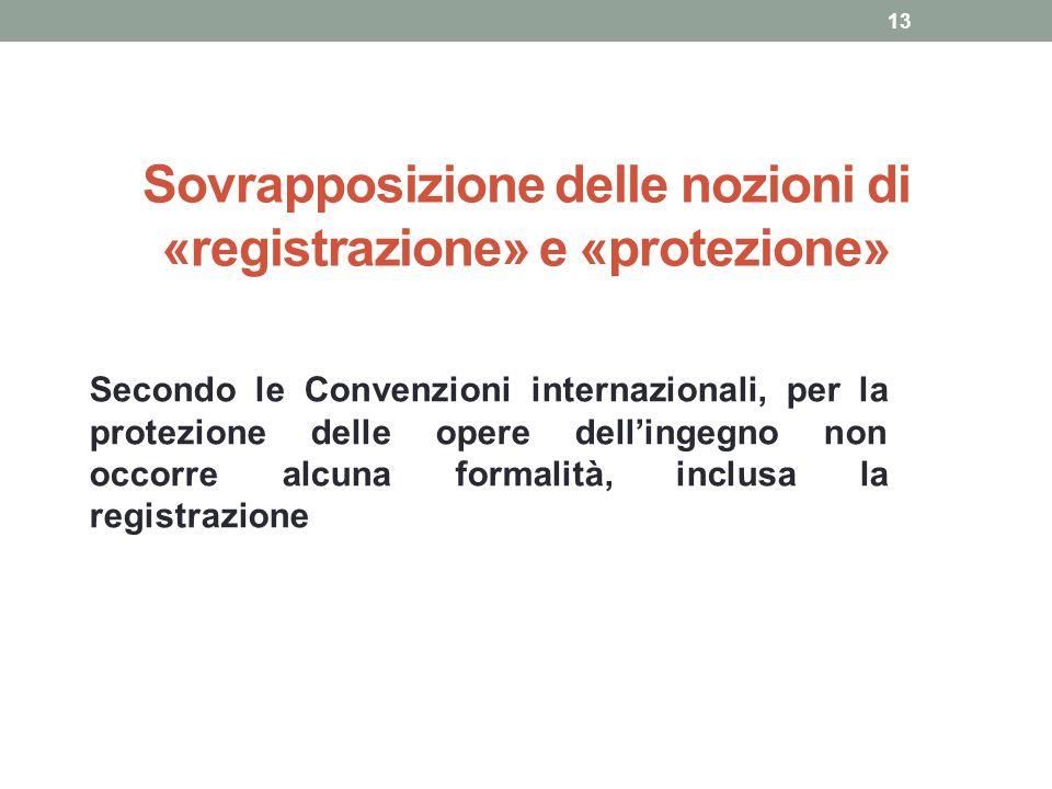 Sovrapposizione delle nozioni di «registrazione» e «protezione» Secondo le Convenzioni internazionali, per la protezione delle opere dell'ingegno non