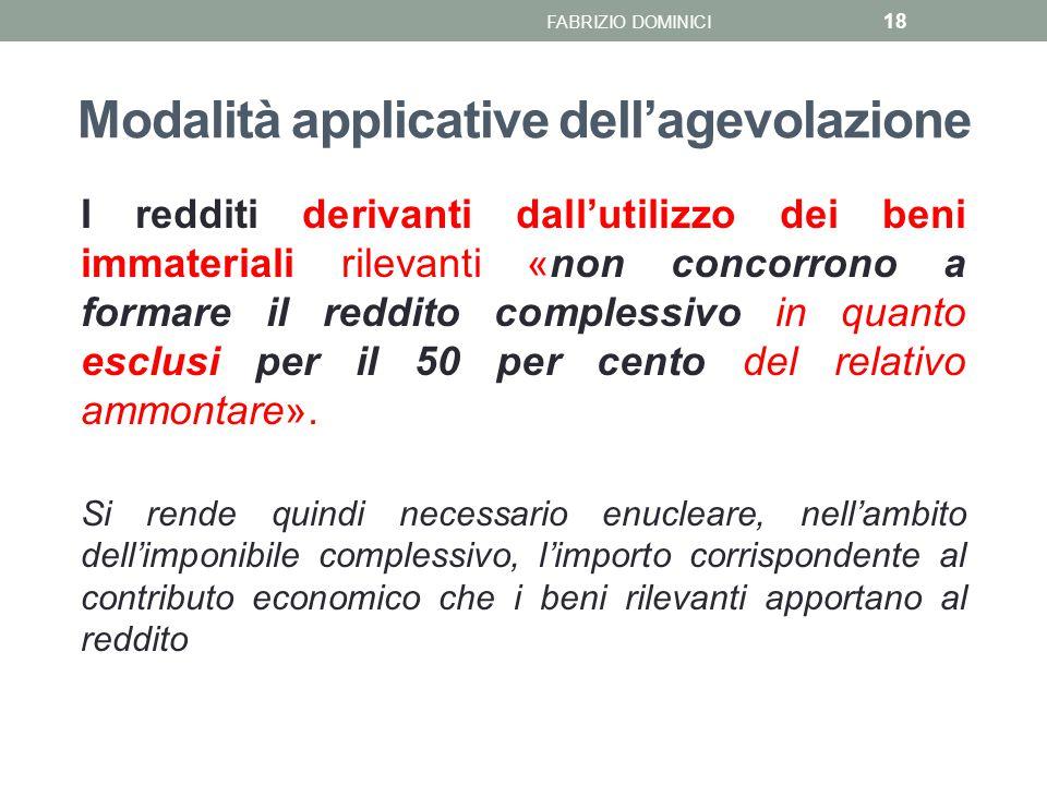 Modalità applicative dell'agevolazione I redditi derivanti dall'utilizzo dei beni immateriali rilevanti «non concorrono a formare il reddito complessi