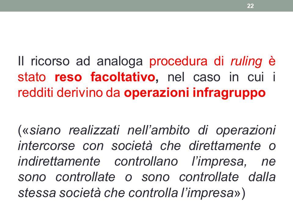 Il ricorso ad analoga procedura di ruling è stato reso facoltativo, nel caso in cui i redditi derivino da operazioni infragruppo («siano realizzati ne