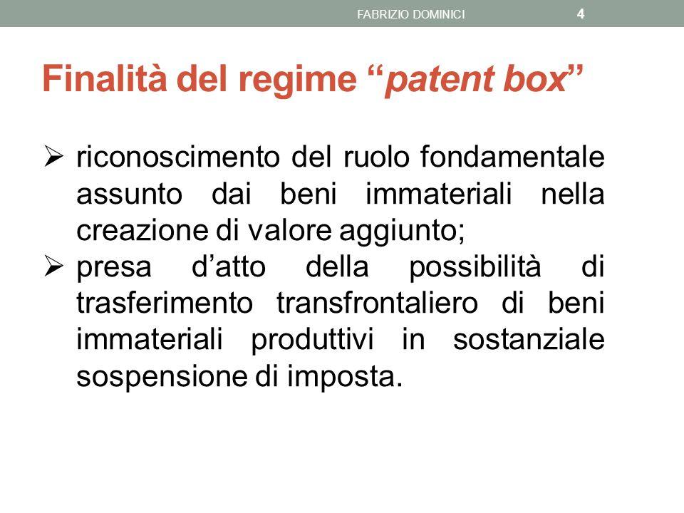 Obiettivi: 5 1.incentivare il mantenimento in Italia dei beni immateriali ivi esistenti (evitandone la delocalizzazione verso Paesi con fiscalità agevolata); 2.incentivare il rientro dei beni immateriali, da parte delle imprese italiane (o la collocazione, da parte di quelle straniere), esistenti all'estero; 3.in generale, favorire gli investimenti in attività di ricerca e sviluppo.