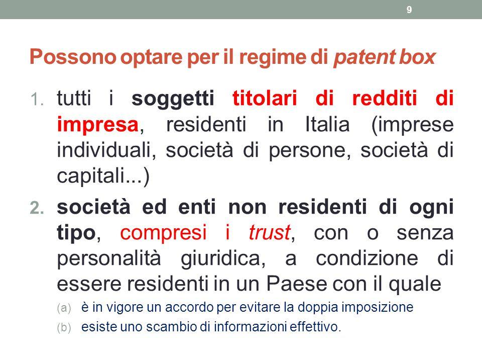 Possono optare per il regime di patent box 1. tutti i soggetti titolari di redditi di impresa, residenti in Italia (imprese individuali, società di pe