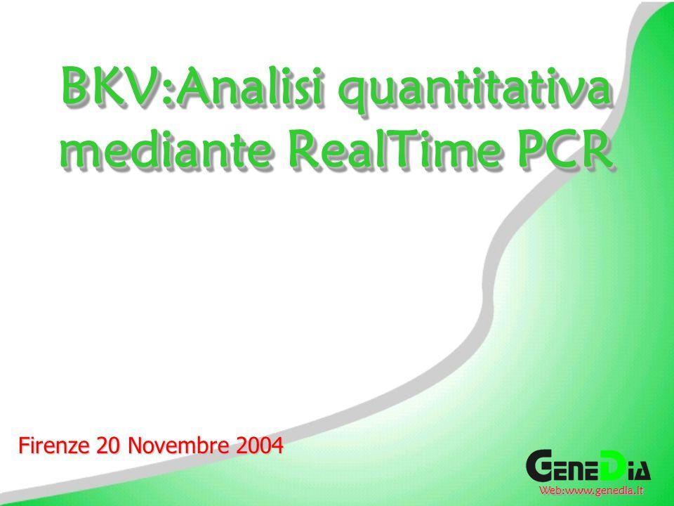 BKV:Analisi quantitativa mediante RealTime PCR Firenze 20 Novembre 2004 Web:www.genedia.itWeb:www.genedia.it
