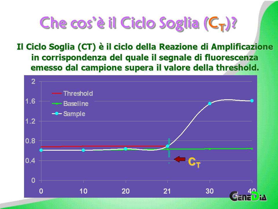 ..ma il Ciclo Soglia (Threshold Cycle,C t ) di tali repliche mostra valori molto simili.