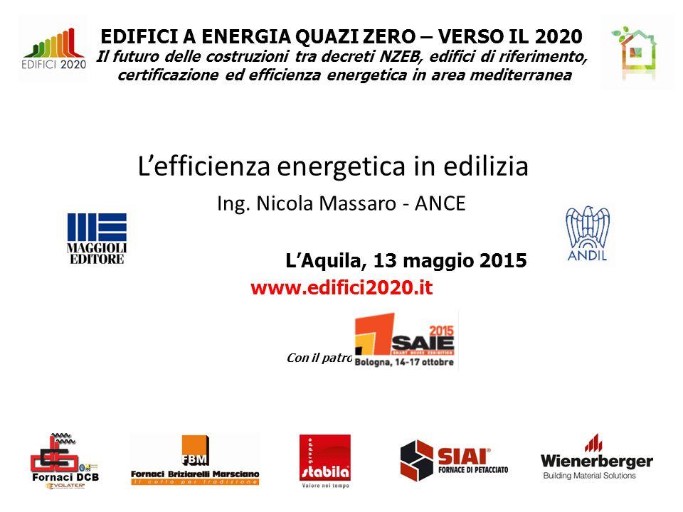 EDIFICI A ENERGIA QUAZI ZERO – VERSO IL 2020 Il futuro delle costruzioni tra decreti NZEB, edifici di riferimento, certificazione ed efficienza energetica in area mediterranea L'efficienza energetica in edilizia Ing.
