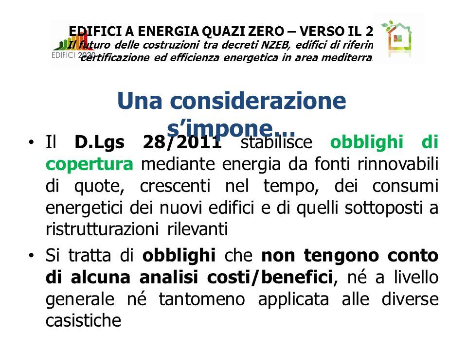 Il D.Lgs 28/2011 stabilisce obblighi di copertura mediante energia da fonti rinnovabili di quote, crescenti nel tempo, dei consumi energetici dei nuovi edifici e di quelli sottoposti a ristrutturazioni rilevanti Si tratta di obblighi che non tengono conto di alcuna analisi costi/benefici, né a livello generale né tantomeno applicata alle diverse casistiche Una considerazione s'impone… EDIFICI A ENERGIA QUAZI ZERO – VERSO IL 2020 Il futuro delle costruzioni tra decreti NZEB, edifici di riferimento, certificazione ed efficienza energetica in area mediterranea