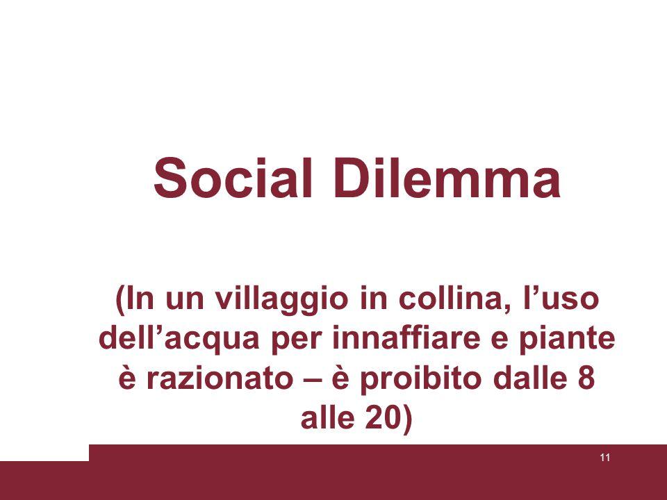 Social Dilemma (In un villaggio in collina, l'uso dell'acqua per innaffiare e piante è razionato – è proibito dalle 8 alle 20) 11