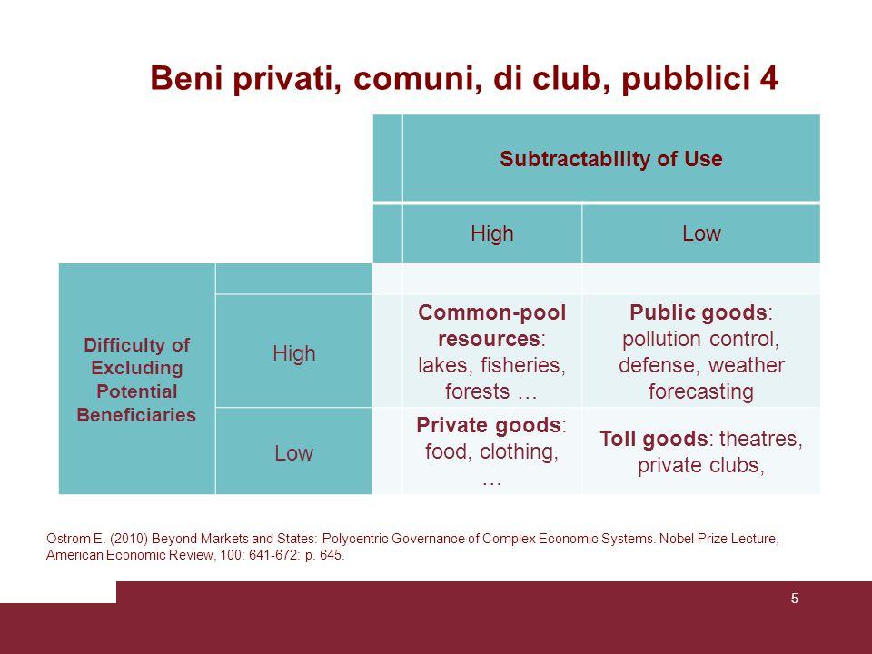 Beni privati, comuni, di club, pubblici 5 Ostrom «ha proposto ulteriori modifiche alla classificazione delle merci per identificare le differenze fondamentali che riguardano gli incentivi di fronte alle quali gli individui si trovano.[…] i.
