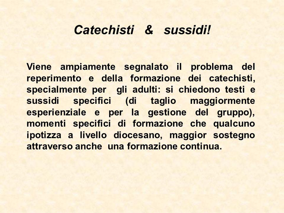 Catechisti & sussidi! Viene ampiamente segnalato il problema del reperimento e della formazione dei catechisti, specialmente per gli adulti: si chiedo