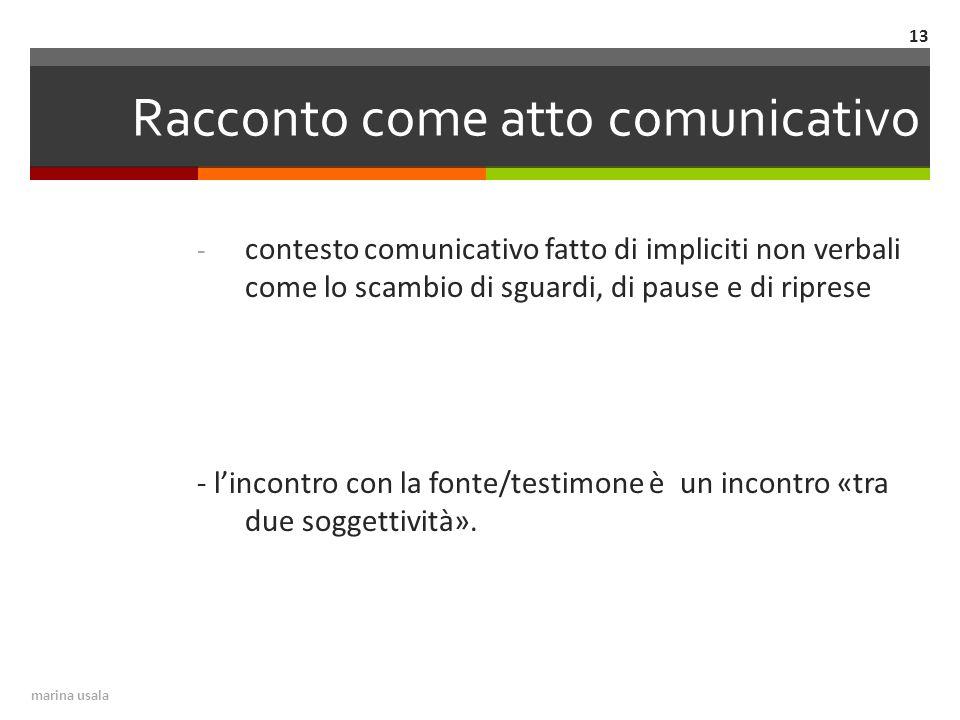Racconto come atto comunicativo - contesto comunicativo fatto di impliciti non verbali come lo scambio di sguardi, di pause e di riprese - l'incontro con la fonte/testimone è un incontro «tra due soggettività».