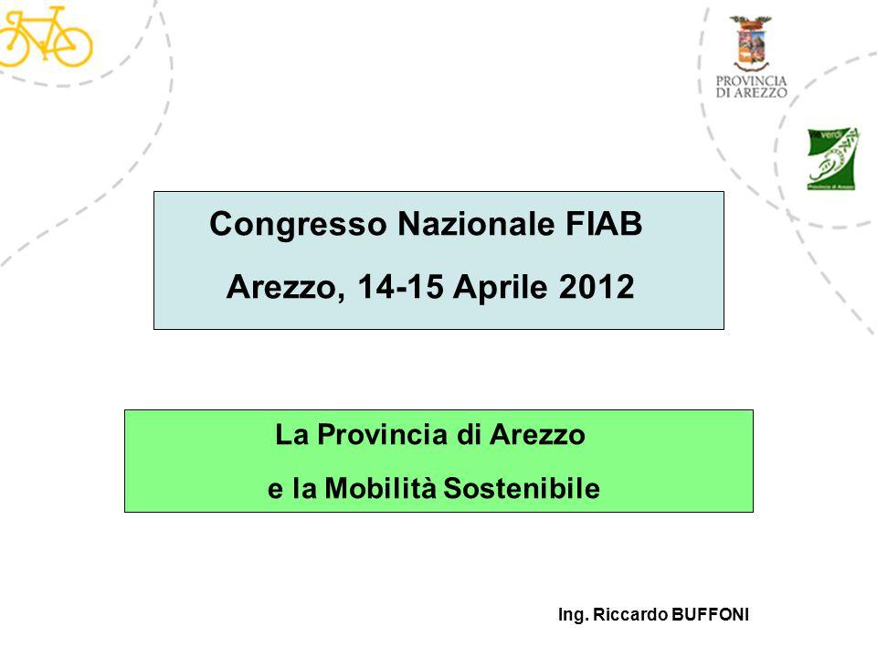 Ing. Riccardo BUFFONI Congresso Nazionale FIAB Arezzo, 14-15 Aprile 2012 La Provincia di Arezzo e la Mobilità Sostenibile