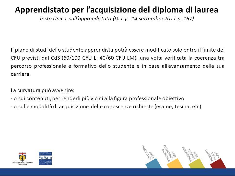Il piano di studi dello studente apprendista potrà essere modificato solo entro il limite dei CFU previsti dal CdS (60/100 CFU L; 40/60 CFU LM), una volta verificata la coerenza tra percorso professionale e formativo dello studente e in base all'avanzamento della sua carriera.