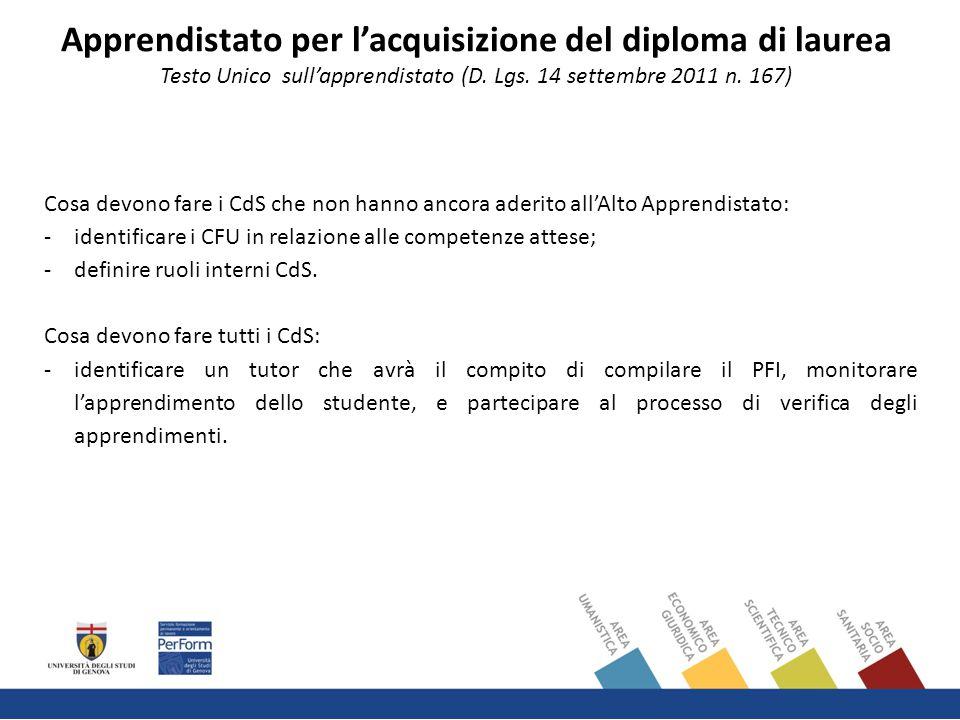 Cosa devono fare i CdS che non hanno ancora aderito all'Alto Apprendistato: -identificare i CFU in relazione alle competenze attese; -definire ruoli interni CdS.