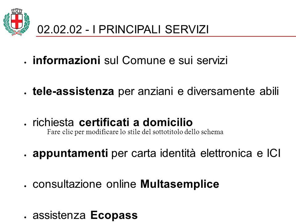 Fare clic per modificare lo stile del sottotitolo dello schema MULTICANALITA' - ONLINE 02.02.02 SPORTELLI ONLINE AUTOCERTIFICAZIONE