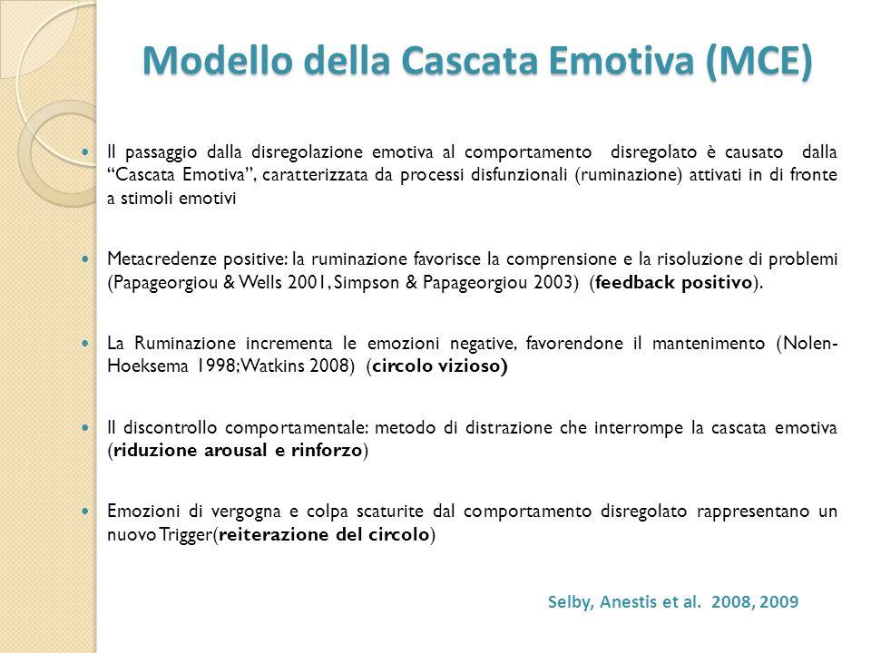 Modello della Cascata Emotiva (MCE) Modello della Cascata Emotiva (MCE) Il passaggio dalla disregolazione emotiva al comportamento disregolato è causa