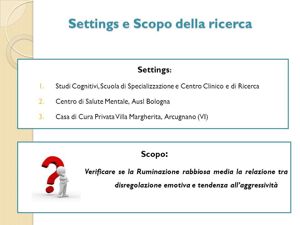 Settings e Scopo della ricerca Settings e Scopo della ricerca Scopo : Verificare se la Ruminazione rabbiosa media la relazione tra la disregolazione e