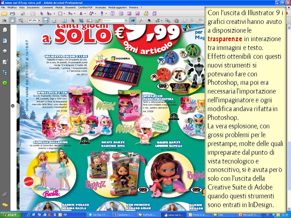 Con l'uscita di Illustrator 9 i grafici creativi hanno avuto a disposizione le trasparenze in interazione tra immagini e testo. Effetti ottenibili con