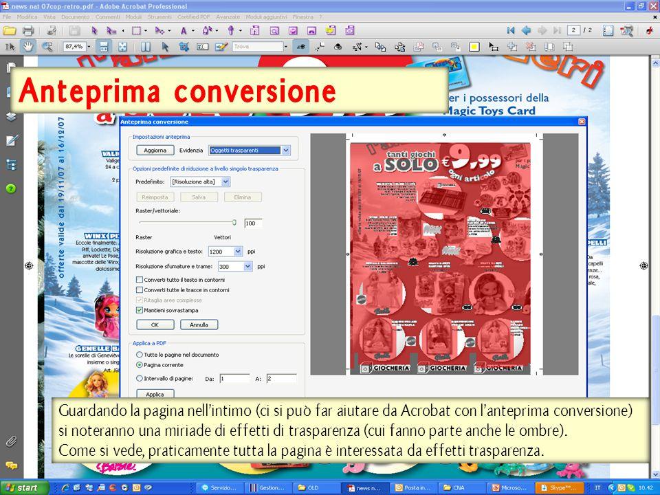 Anteprima conversione Guardando la pagina nell'intimo (ci si può far aiutare da Acrobat con l'anteprima conversione) si noteranno una miriade di effetti di trasparenza (cui fanno parte anche le ombre).