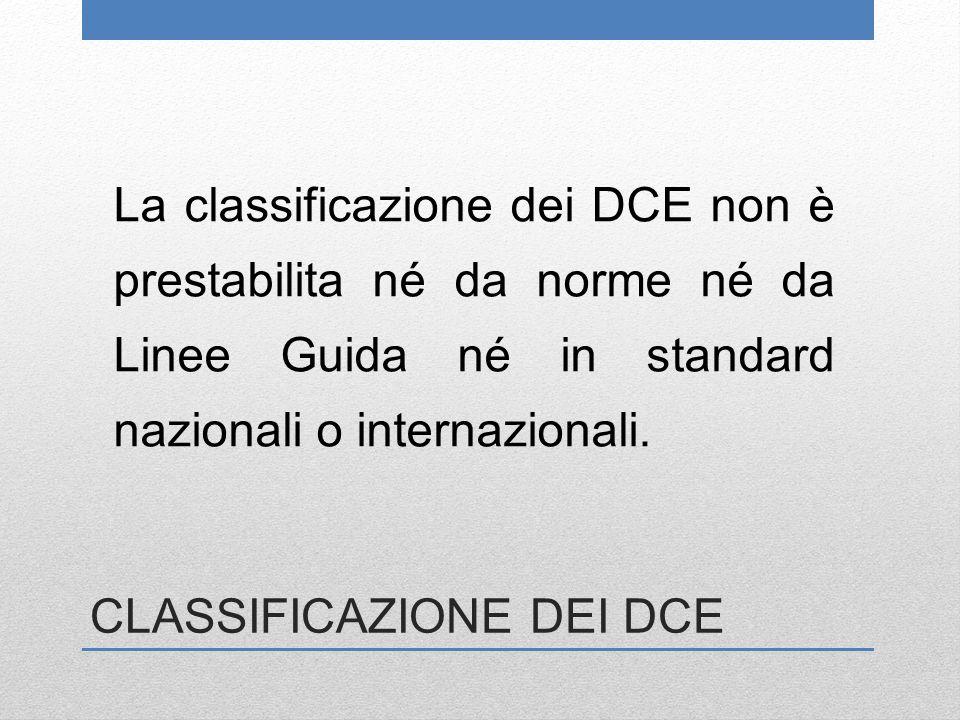 CLASSIFICAZIONE DEI DCE La classificazione dei DCE non è prestabilita né da norme né da Linee Guida né in standard nazionali o internazionali.