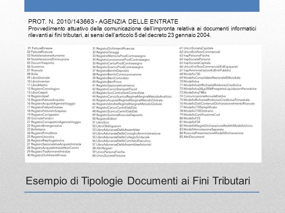 PROT. N. 2010/143663 - AGENZIA DELLE ENTRATE Provvedimento attuativo della comunicazione dell'impronta relativa ai documenti informatici rilevanti ai