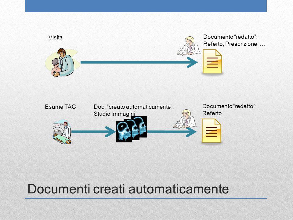 """Documenti creati automaticamente Doc. """"creato automaticamente"""": Studio Immagini Visita Documento """"redatto"""": Referto, Prescrizione, … Esame TAC Documen"""