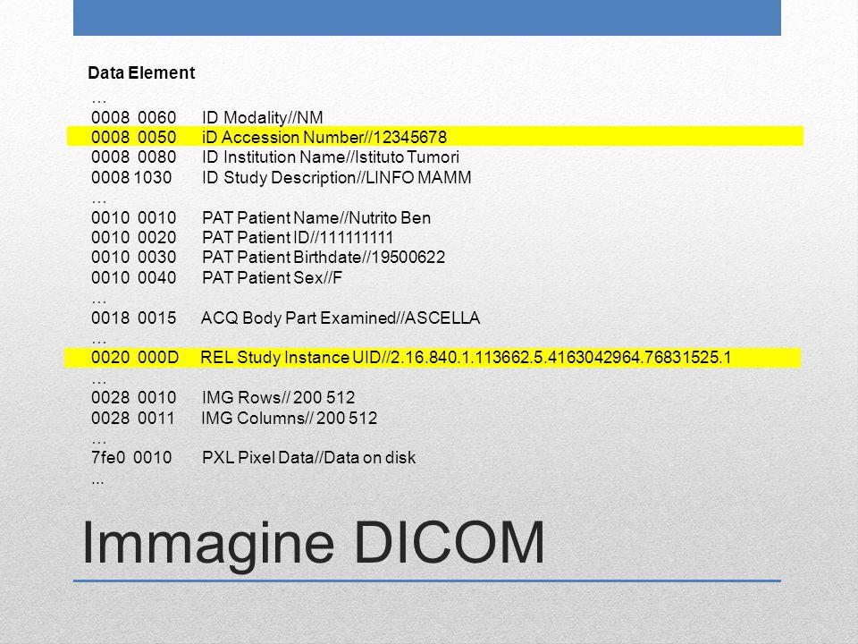 Immagine DICOM Data Element … 0008 0060 ID Modality//NM 0008 0050 iD Accession Number//12345678 0008 0080 ID Institution Name//Istituto Tumori 0008 10