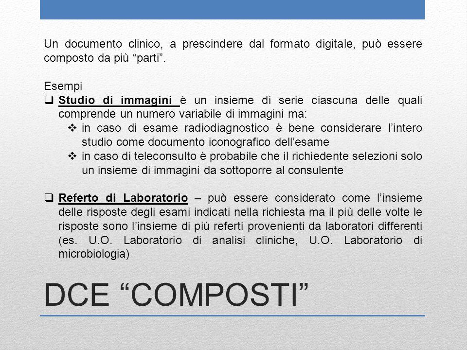 """DCE """"COMPOSTI"""" Un documento clinico, a prescindere dal formato digitale, può essere composto da più """"parti"""". Esempi  Studio di immagini è un insieme"""