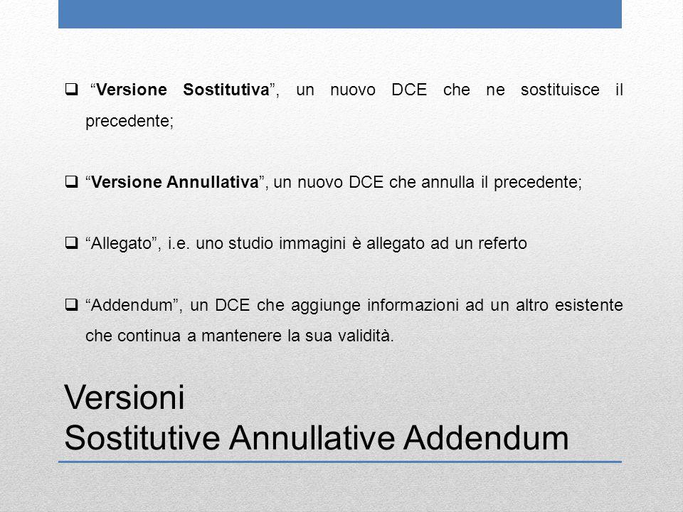 Versioni Sostitutive Annullative Addendum  Versione Sostitutiva , un nuovo DCE che ne sostituisce il precedente;  Versione Annullativa , un nuovo DCE che annulla il precedente;  Allegato , i.e.