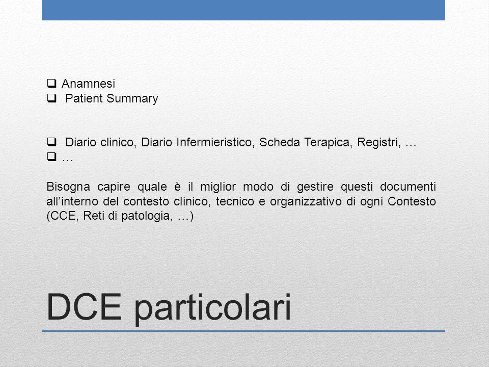 DCE particolari  Anamnesi  Patient Summary  Diario clinico, Diario Infermieristico, Scheda Terapica, Registri, …  … Bisogna capire quale è il migl