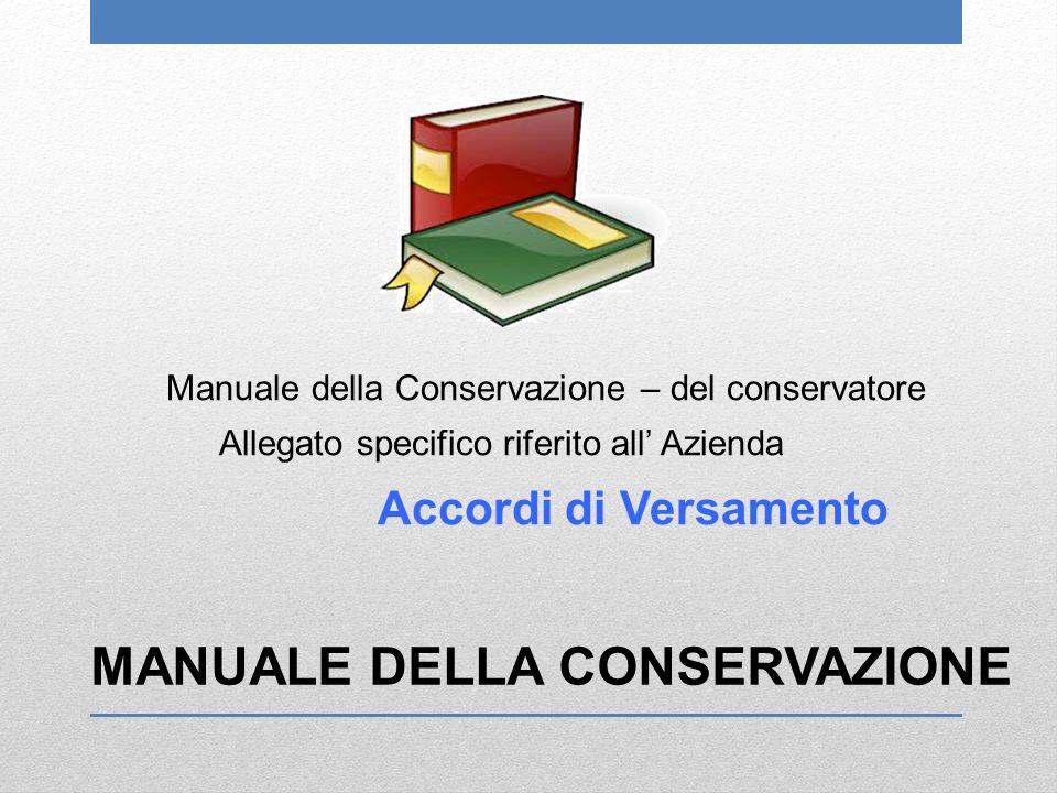 MANUALE DELLA CONSERVAZIONE Manuale della Conservazione – del conservatore Allegato specifico riferito all' Azienda Accordi di Versamento