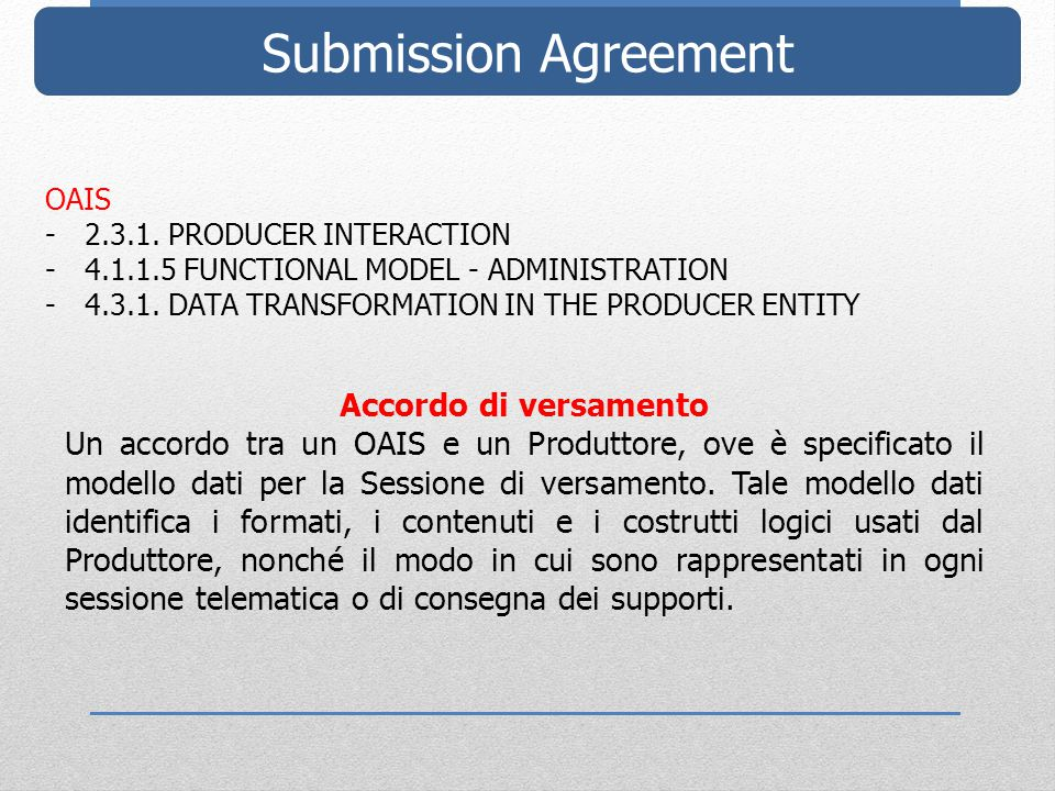 Submission Agreement OAIS -2.3.1. PRODUCER INTERACTION -4.1.1.5 FUNCTIONAL MODEL - ADMINISTRATION -4.3.1. DATA TRANSFORMATION IN THE PRODUCER ENTITY A
