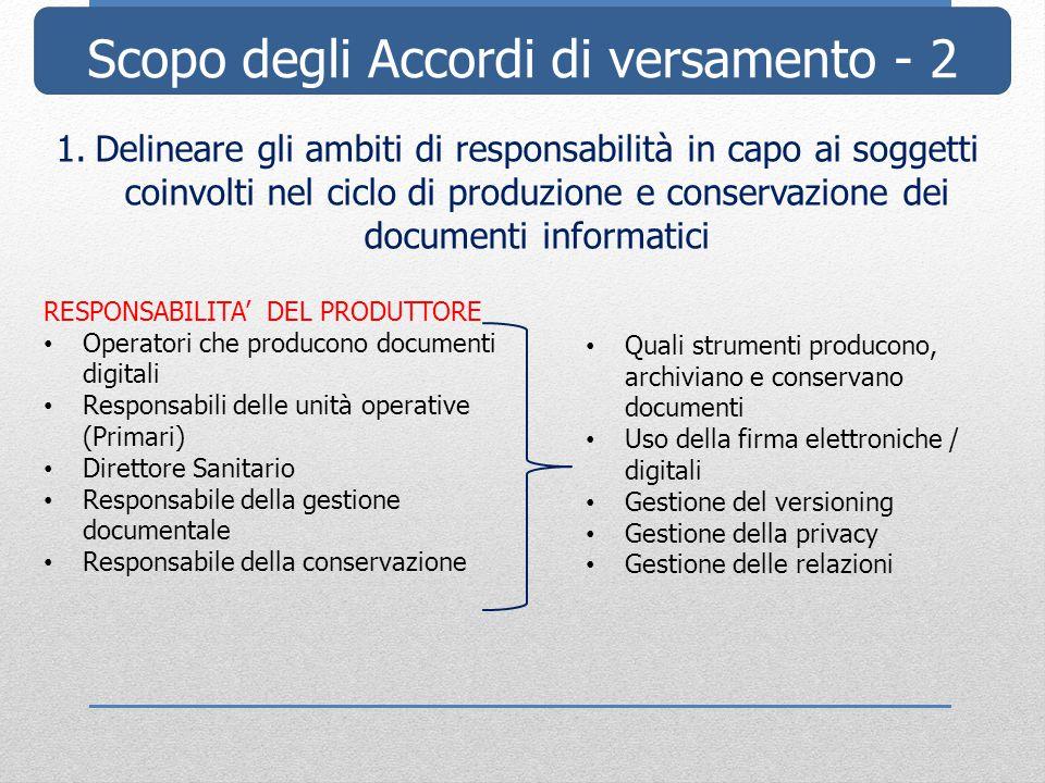 Scopo degli Accordi di versamento - 2 1.Delineare gli ambiti di responsabilità in capo ai soggetti coinvolti nel ciclo di produzione e conservazione d
