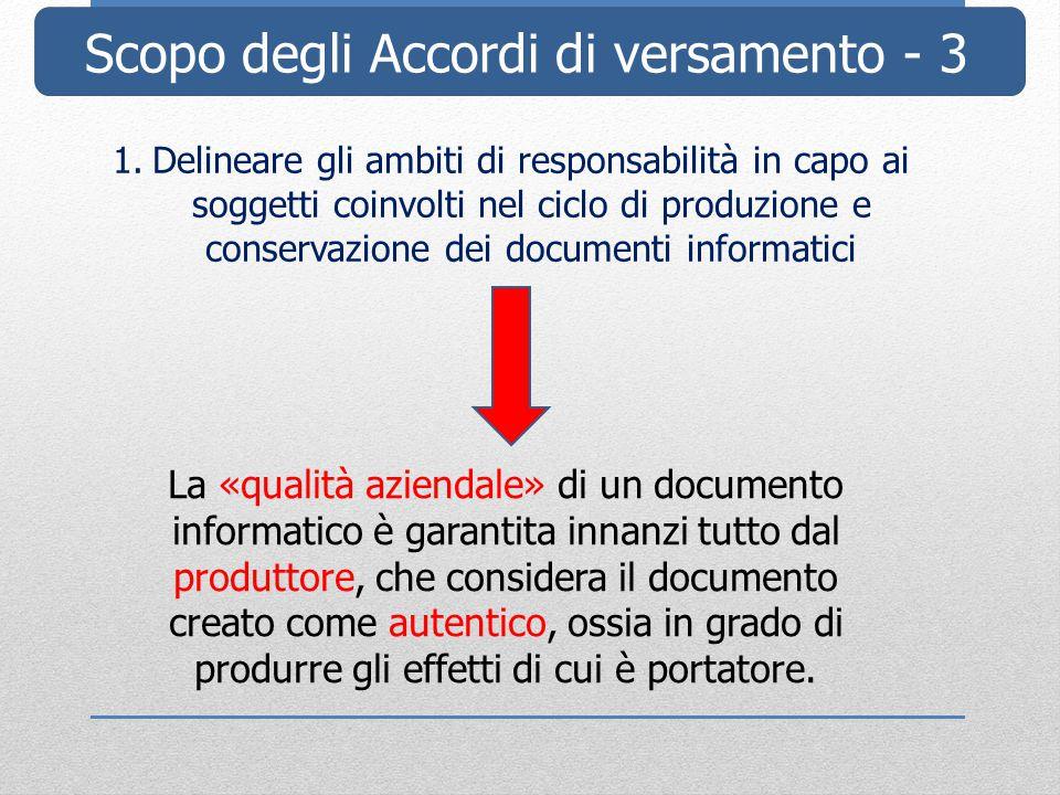 Scopo degli Accordi di versamento - 3 1.Delineare gli ambiti di responsabilità in capo ai soggetti coinvolti nel ciclo di produzione e conservazione d