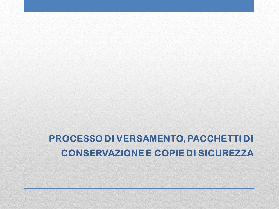 PROCESSO DI VERSAMENTO, PACCHETTI DI CONSERVAZIONE E COPIE DI SICUREZZA